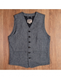 1905 Hauler Vest grey striped linen