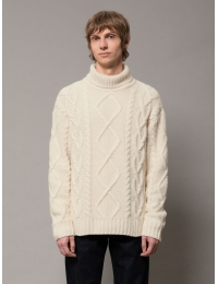 Didrik Braided Roll Neck Dusty White
